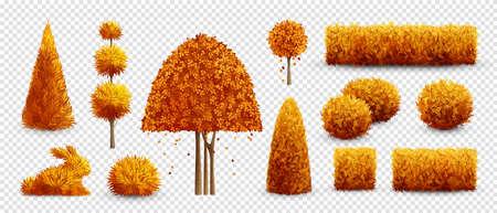 Autumn decorative garden bushes icon set with orange trees shrubs and bushes illustration