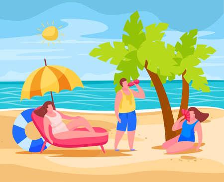 People on beach preventing summertime overheating  heatstroke sitting under umbrella drinking water using chinese fan vector illustration  向量圖像