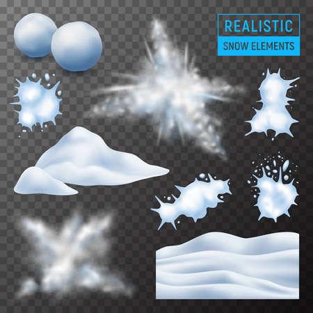 Snow powdery wavy snowdrift mound exploding bursting snowballs splats realistic elements set dark transparent background vector illustration   イラスト・ベクター素材