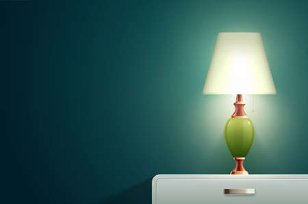 House lighting lamp realistic composition with solid blue wall and bedside table with small designer lamp vector illustration Vektorgrafik