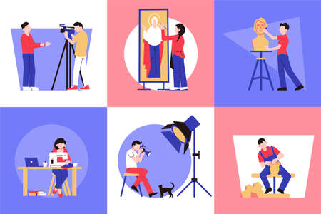 Artist creative professions design concept with square compositions with human characters of creators doing their work illustration Vektorové ilustrace