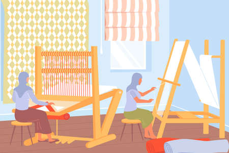Carpet production process with women working at weaving looms flat illustration Ilustración de vector