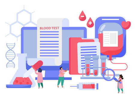 Blood donation composition with blood test symbols flat vector illustration Illustration