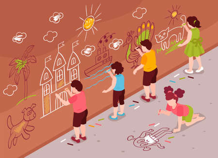 Isometric children art school wall composition with group of kids drawing on street wall and asphalt vector illustration