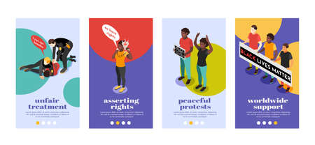 Set of black lives matter isometric 4x1 vertical banners with text page buttons and human characters vector illustration