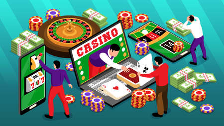 Isometric online casino horizontal composition of roulette images chips and banknotes with smartphones laptop and players vector illustration