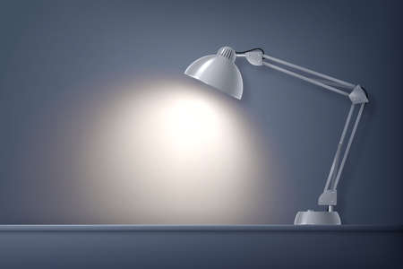 House lighting lamp on table realistic composition with front view of desktop working place with lamp vector illustration Vektorgrafik