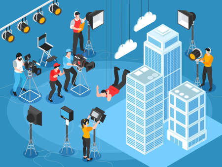 Isometric cinematography composition of film set scenery with skyscrapers and characters of lighting and camera operators vector illustration