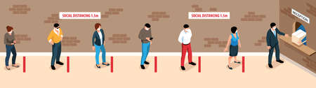 People keeping safe distance in queue at reception 3d isometric vector illustration Vettoriali