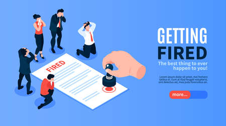 Isometric dismissal horizontal banner with editable text slider button and group of sad workers with contract vector illustration