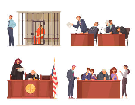 Law justice compositions set with wooden tribunes and sitting judges trial jury and prisoners in cage vector illustration