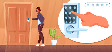 Woman opening door with numeric lock flat vector illustration