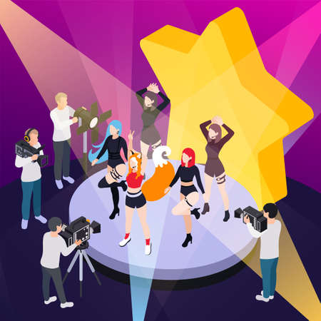 Pop music show isometric poster with reporters videotaping performance of dance group vector illustration