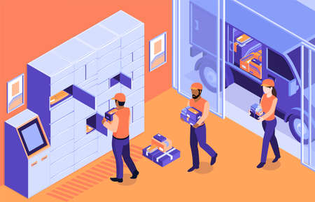 Isometric post terminal logistic composition with indoor scenery and postal workers loading parcels into automated locker vector illustration