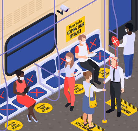 Social distancing in transport  isometric background with marking on floor and seats vector illustration isometric background vector illustration