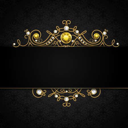 Jewellery black background with unique classic vintage golden diamond gems tiara vector illustration Ilustración de vector