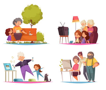 Grandma and grandpa concept icons set with leisure and pastime symbols flat isolated vector illustration Illustration