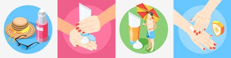 Sunscreen isometric design concept with 4x1 set of compositions with human hands applying sun protection creams vector illustration