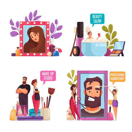 Makeup beautician stylist set with four isolated compositions of flat human characters cosmetic products and text vector illustration Иллюстрация