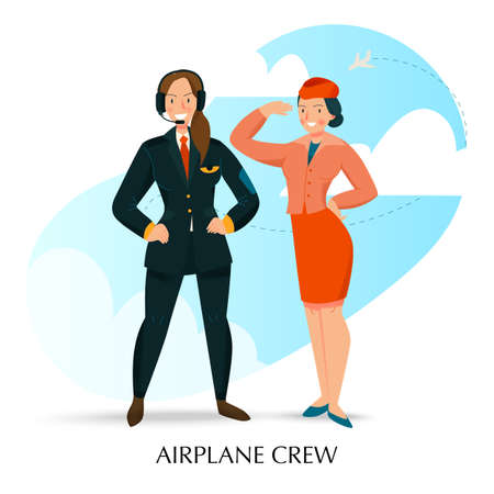 Female job composition with airplane crew symbols flat vector illustration