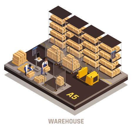 Modern warehouse facility operating process isometric compositions with cargo delivery tracking loading placing storage system vector illustration