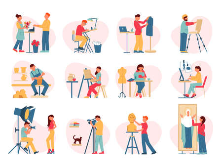 Artist creative professions set with isolated compositions and human characters of working creators on blank background vector illustration Иллюстрация