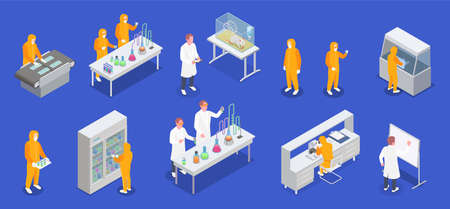 Pharmaceutical production isometric set of laboratory equipment icons and human characters of scientists in biohazard suits vector illustration