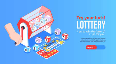 Isometric fortune lottery win horizontal banner with images of prize tickets drawing balls and editable text vector illustration