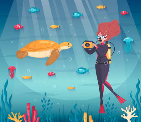 Diving snorkeling composition with cartoon fishes and female character taking photo of turtle under the water vector illustration Vectores