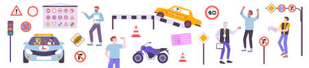 Driving school set with theory and practice symbols flat isolated vector illustration