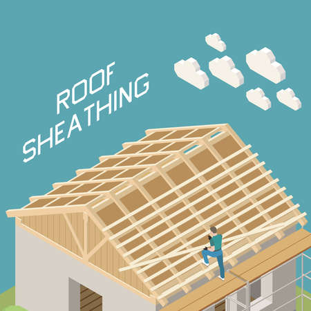 Family house building roofer isometric composition with a-shape wooden frame roof sheathing construction work vector illustration