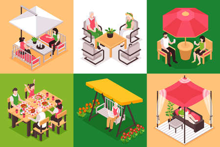 Isometric garden furniture design concept with square compositions of human characters at bench tables with tents vector illustration 矢量图像