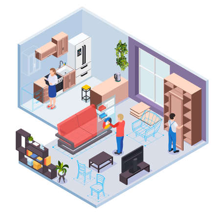 Furniture showroom with virtual reality service kitchen and living room sections designer visitor and worker characters isometric vector illustration