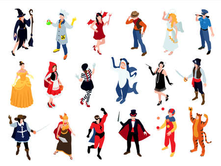 Isometric festive masquerade carnival party costumes set with isolated human characters wearing partysuits on blank background vector illustration