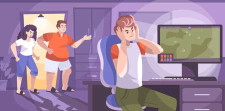 Naughty teen flat composition with indoor living room scenery computer and parents arguing with teenage son vector illustration