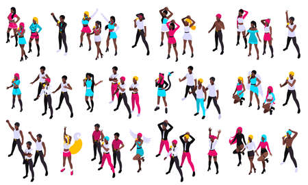 Groups of young people singing pop music and dancing with microphones isometric set isolated vector illustration
