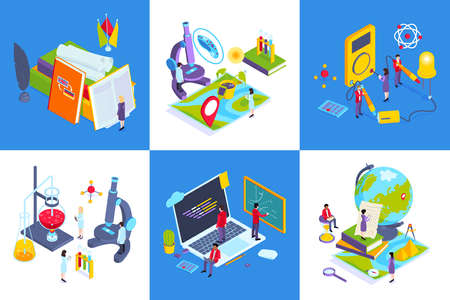 School subjects contemporary education concept 6 isometric compositions with chemistry lab computer science class geography vector illustration Vektoros illusztráció