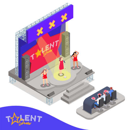 Isometric composition with three women performing at talent show in front of jury 3d vector illustration