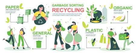 Garbage recycling infographics with people sorting household garden waste in organic bin plastic paper containers vector illustration Vektorgrafik