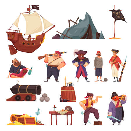 Pirate set with isolated icons of ship wreck and weapons with doodle style characters of pirates vector illustration