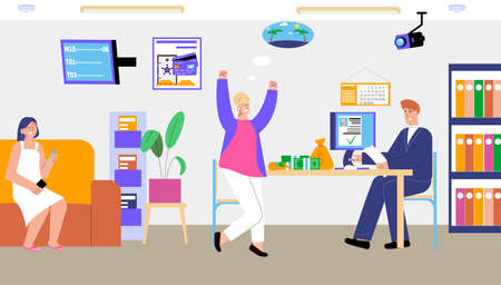 Bank credit flat concept with woman is happy that she was given credit for travel vector illustration
