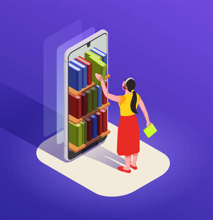 Reading isometric composition with character of woman in headphones choosing book from case in smartphone screen vector illustration Иллюстрация