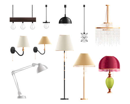 House lighting lamps realistic set of isolated icons and images of designer lamps for various interiors vector illustration 일러스트
