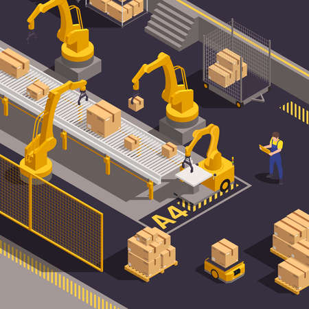 Modern warehouse equipment isometric composition with computer controlled robotic arms loading and sorting cargo packages vector illustration