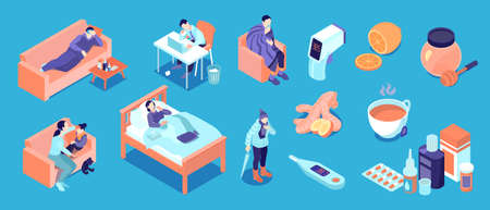 Isometric cold flu virus color icon set with person is sick and lies in bed or couch high temperature thermometer medicines home remedies for common illnesses vector illustration Illusztráció