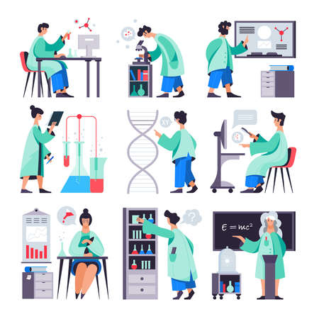 Science research microbiology chemistry physics clinical laboratory technologists scientists equipment presentation 9 flat compositions isolated vector illustration Vettoriali