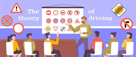 Driving school poster with theory study symbols flat vector illustration