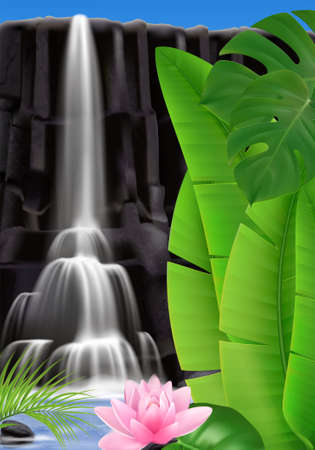 Realistic tropical waterfall background with outdoor scenery and water flows on mountain rock with exotic leaves vector illustration