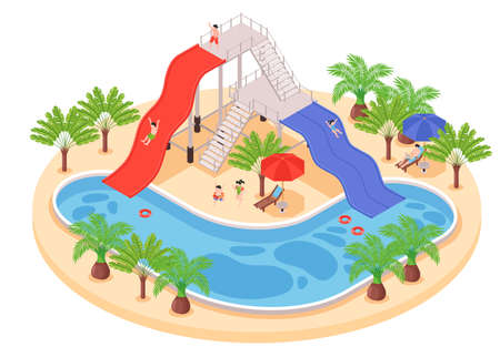 Isometric hotel water park composition with people relaxing near pool with slides surrounded by exotic trees vector illustration