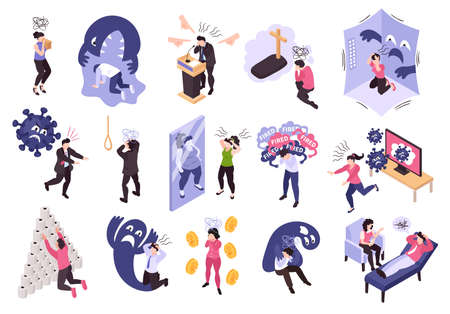 Isometric panic attack people set with isolated icons and conceptual compositions of human characters and monsters vector illustration  Illustration